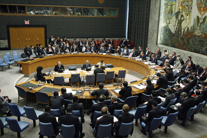 A session of the UN Security Council (2009), the participants seated around a circular table.