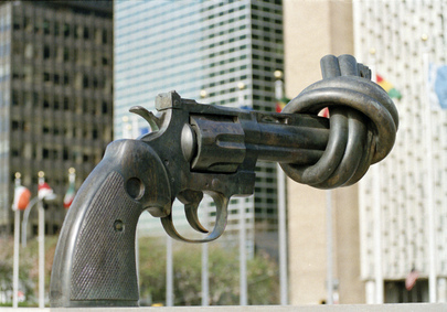 "Sculpture entitled ""Non-Violenza"" by Karl Fredrik Reutersward, situated outside the United Nations Headquarters in New York."