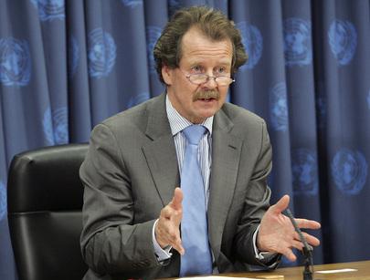 Primo piano del Relatore Speciale delle Nazione Unite contro la tortura Manfred Nowak.