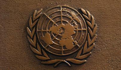 Placca raffigurante il simbolo ufficiale delle Nazioni Unite costituito dalla proiezione stereografica polare del globo terrestre attorniata da due rami di alloro.