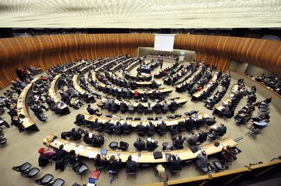 Inquadratura dall'alto della sala circolare in cui si è tenuta la decima sessione speciale del Consiglio diritti umani tenutasi a Ginevra nel 2009.