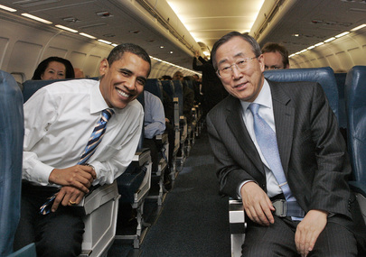 President of the United States of America Barack Obama and Secretary-General of the United Nations Ban Ki Moon, seated next to each other on an airplane.