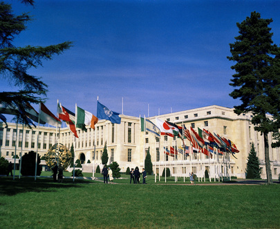 United Nations Office, Geneva. View of the Palais des Nations, with the flags of the Member States of the United Nations.