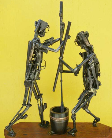 "Sculpture made of small caliber weapons, used as raw material to educative laboratories for trainee blacksmiths, from the exposition ""To Be Deter-mined/At Arms Length"", promoted by the Cambodian government in cooperation with the European Union (1998)."