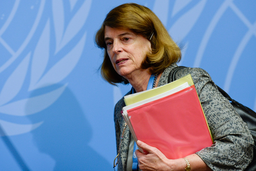Mary McGowan Davis, Chairperson, Independent Commission of Inquiry on the 2014 Gaza Conflict, at press conference in Geneva