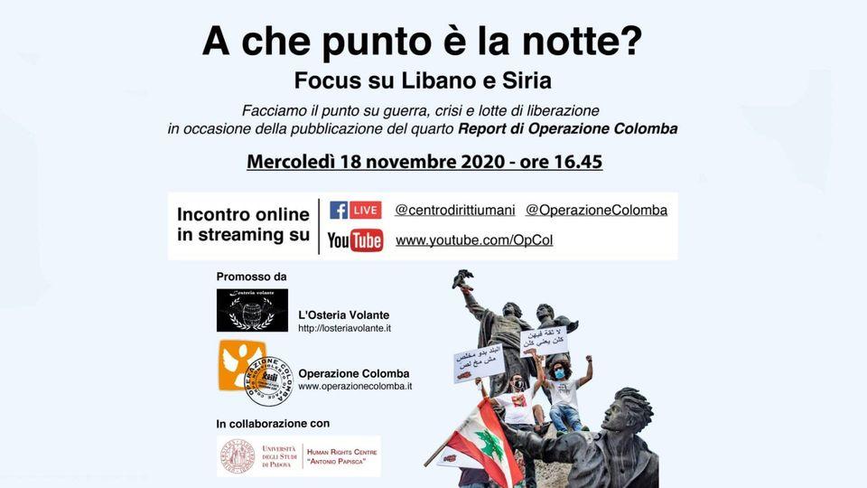 """Webinar """"A che punto è la notte? Guerra, lotte di liberazione e crisi in Libano e Siria"""""""