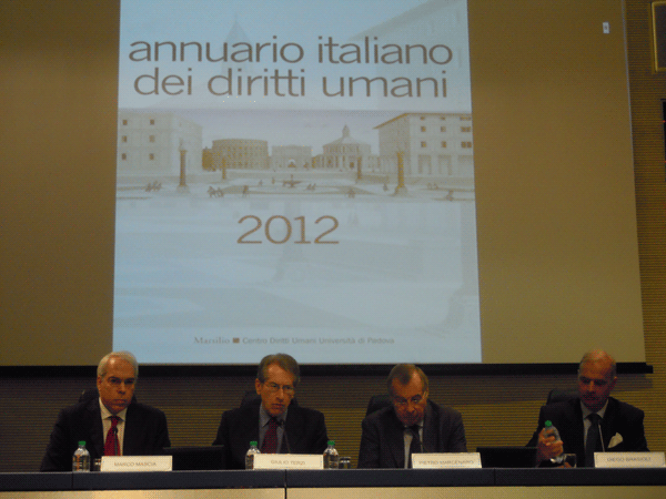 Presentation of the Italian Yearbook of Human Rights 2012, Rome, 20 September 2012, Italian Foreign Minister Giulio Terzi