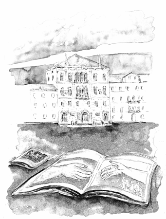 "Paperback cover of Regional Conference ""La regione del veneto per i diritti umani, la pace e la cooperazione allo sviluppo"", Padua, 2002. Drawing of a book with two hands gathering on centre-stage, on background Balbi palace, head office of Regional Counc"