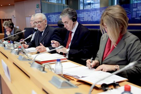Tavolo dei lavori in occasione dell'udienza conoscitiva al Parlamento europeo per l'adesione dell'Unione Europea alla Convenzione europea dei diritti umani, Strasburgo, 18 marzo 2010.