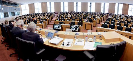 Sala dell'udienza conoscitiva al Parlamento europeo per l'adesione dell'Unione Europea alla Convenzione europea dei diritti umani, Strasburgo, 18 marzo 2010.