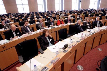 Antonio Papisca ed altri relatori all'udienza conoscitiva al Parlamento europeo per l'adesione dell'Unione Europea alla Convenzione europea dei diritti umani, Strasburgo, 18 marzo 2010.