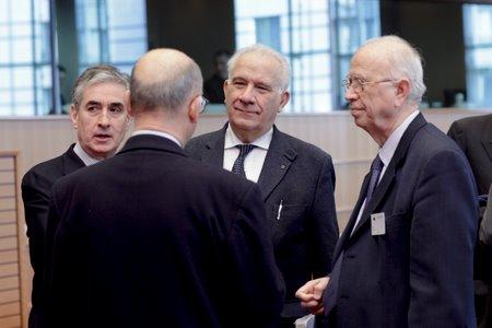 Carlo Casini, Antonio Papisca ed altri all'udienza conoscitiva al Parlamento europeo per l'adesione dell'Unione Europea alla Convenzione europea dei diritti umani, Strasburgo, 18 marzo 2010.