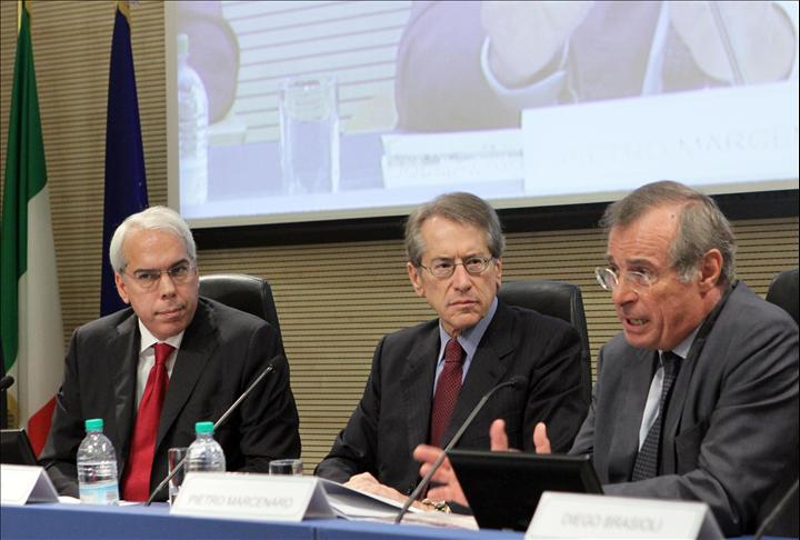 Presentation of the Italian Yearbook of Human Rights 2012, Rome, 20 September 2012. From the left: Prof. Marco Mascia of the Univertisy of Padua, the Minister of Foreign Affairs Giulio Terzi and the senator Pietro Marcenaro.
