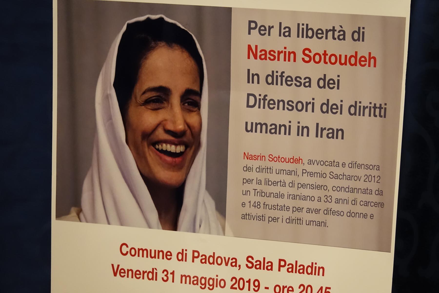 , Per la libertà di Nasrin Sotoudeh. In difesa dei Difensori dei diritti umani in Iran, Comune di Padova, Sala Paladin, Venerdì 31 maggio 2019