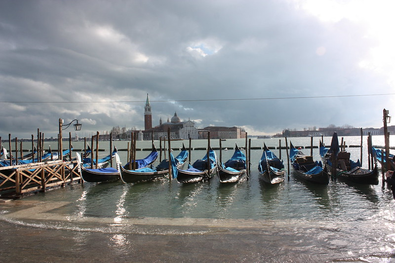 Venice Acqua Alta: The gondolas and the island of San Giorgio