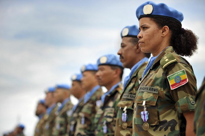 A female member of the Ethiopian battalion of the United Nations Mission in Liberia (UNMIL), 2008
