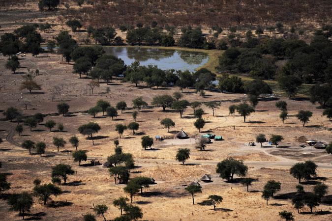 Veduta aerea delle terre fertili nella regione Abyei del Sudan
