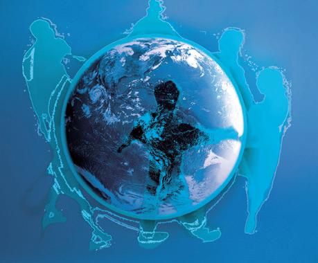 Immagine per la Terza Conferenza Regionale sui diritti umani, la pace e la cooperazione allo sviluppo della Regione del Veneto, Vicenza, 18-19 ottobre 2007. E' raffigurato al centro il pianeta Terra, sostenuto da persone stilizzate che si danno la mano formando un cerchio.