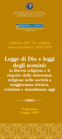 "Image of a poster for ""La cattedra delle tre religioni,"" or The Chair of the Three Religions. Padova, 11-20 May, 2009."