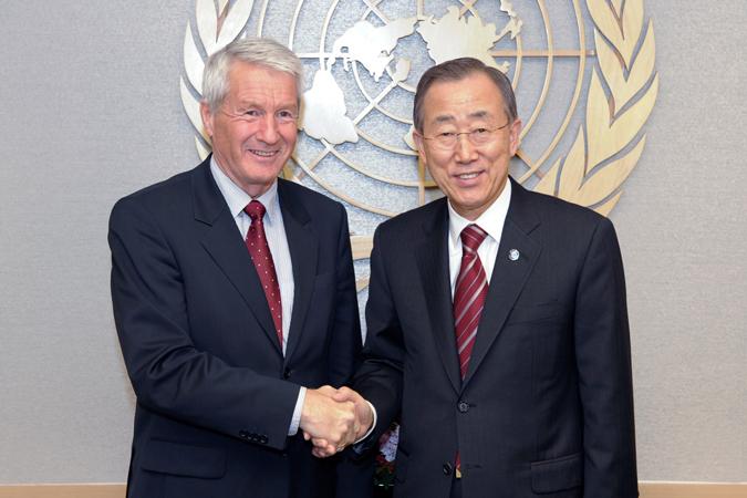 Thorbjørn Jagland, segretario generale del Consiglio d'Europa e Ban Ki-Moon, segretario generale delle Nazioni Unite, New York, 15 novembre 2010.