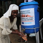 One of the hand washing facilities installed by UN-Habitat in Mathare slum in Nairobi, Kenya April 14, 2020