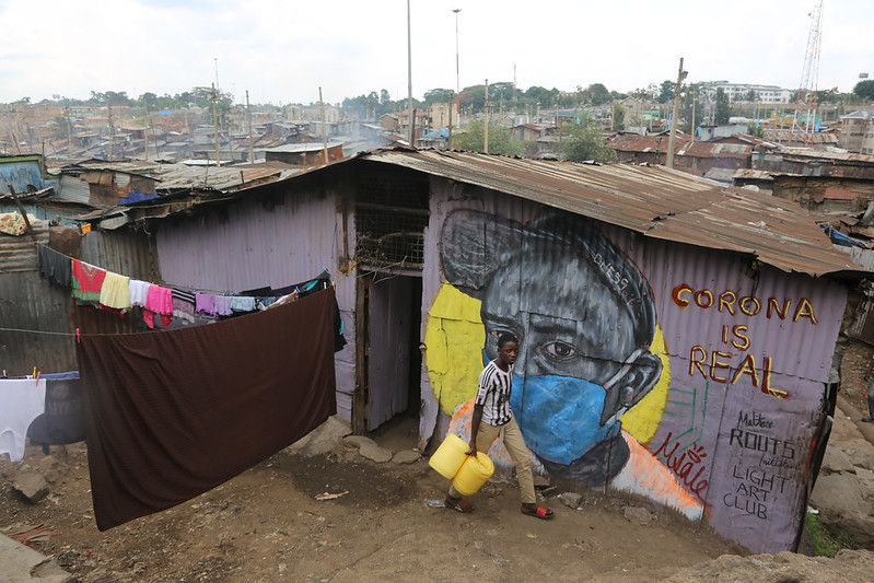 COVID-19 public health mural in Mathare slum in Nairobi, Kenya April 14, 2020