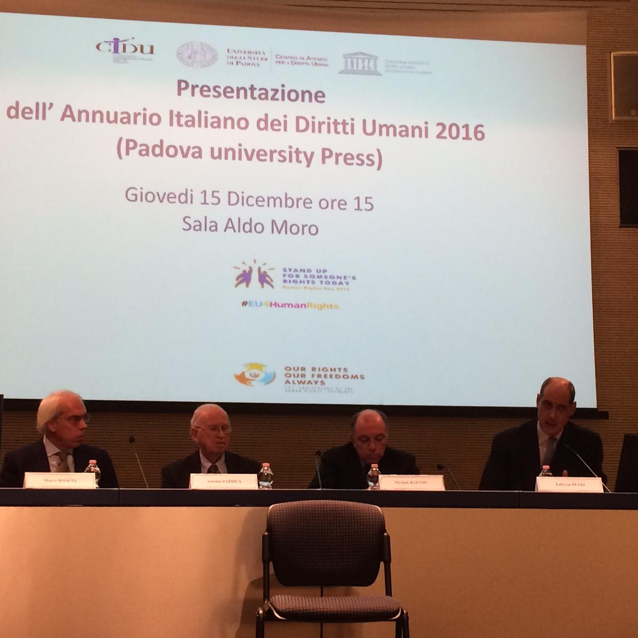 Presentazione Annuario italiano dei diritti umani 2016, Farnesina, Roma, 15 dicembre 2016