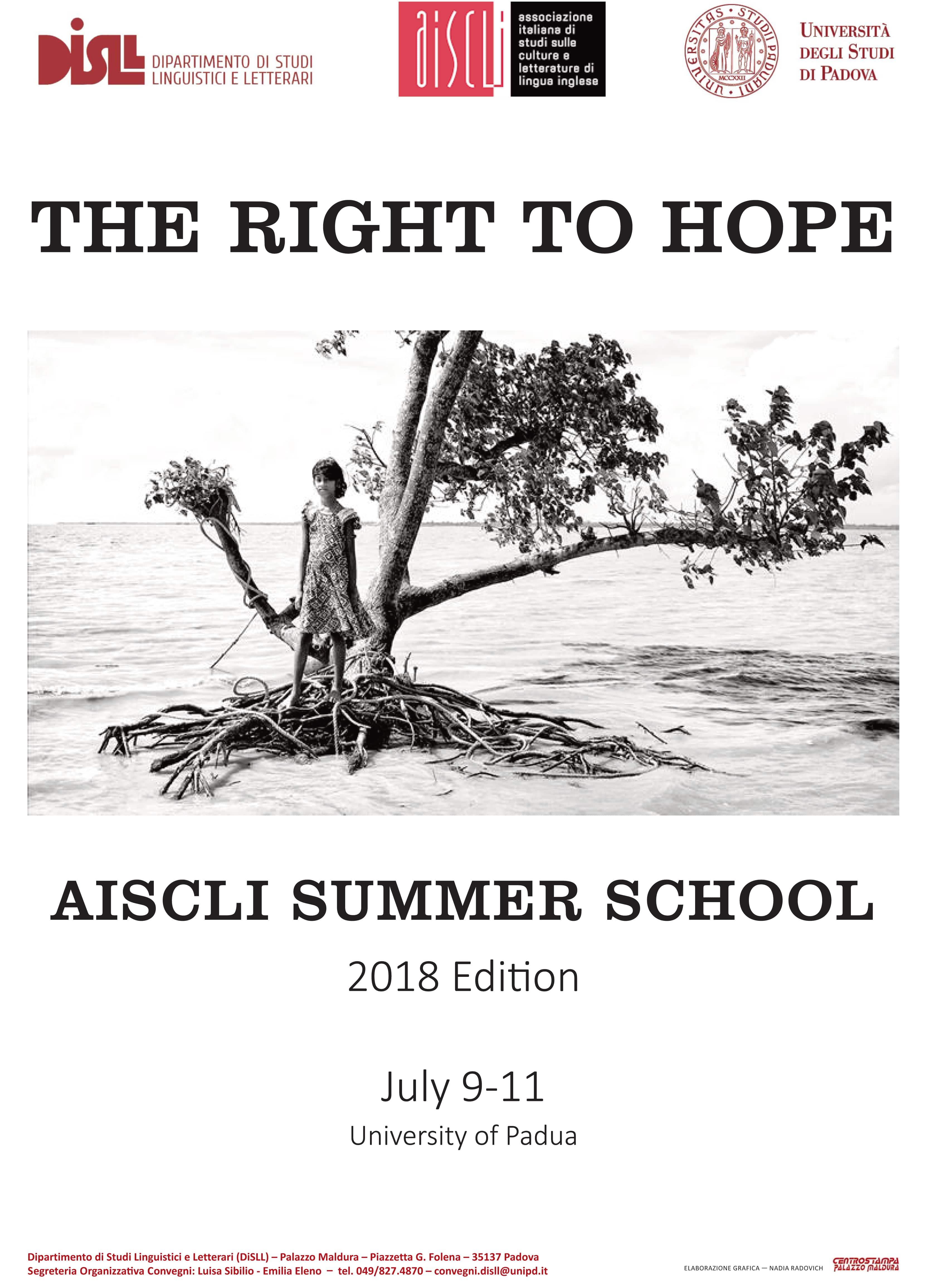"""AISCLI Summer school 2018 """"The right to hope"""", Padova, 9-11 luglio 2018, depliant"""