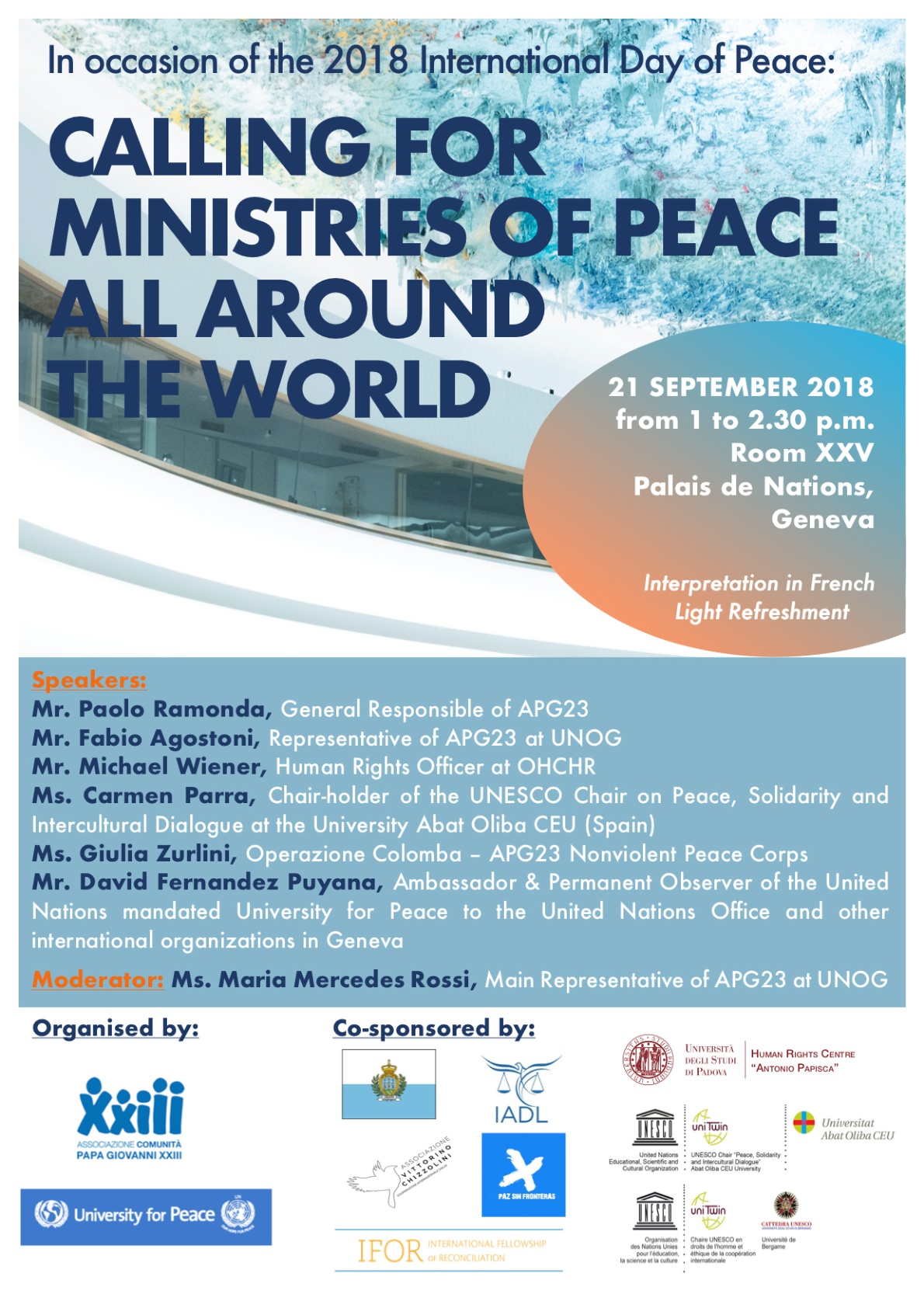 Ministero della Pace, Calling for ministries of peace all around the world, Associazione Papa Giovani XXIII