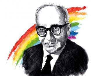 Immagine di Aldo Capitini con alle spalle i colori dell'arcobaleno, simboleggianti i colori della pace