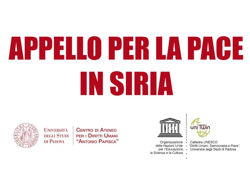Appello per la pace in Siria