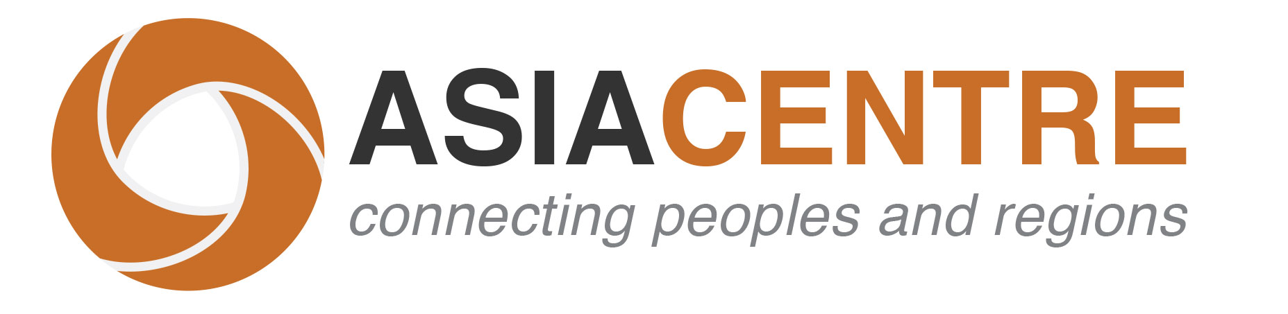 "Asia Centre logo in orange and black, with written underneath ""connecting peoples and regions"""