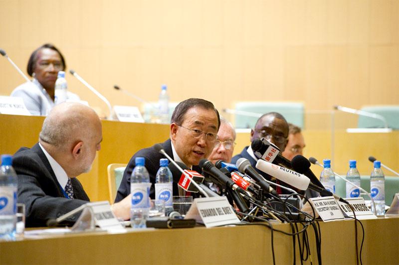 Il Segretario Generale Ban-Ki Moon interviene al 18° summmit dell'Unione Africana ad Addis Abeba, Etiopia, gennaio 2012