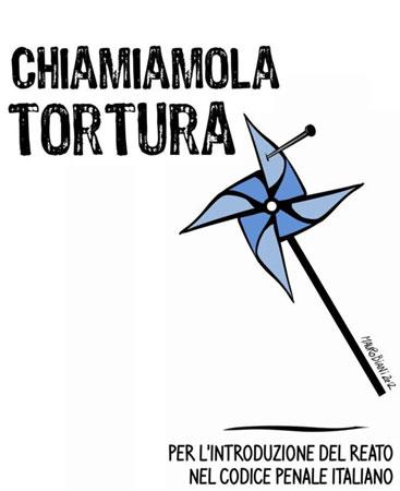 """Logo della Campagna """"Chiamiamola tortura"""", promossa dall'Associazione Antigone, 2012"""