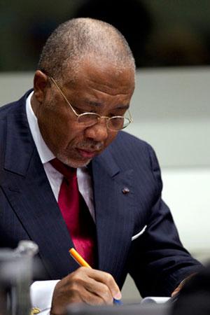 L'ex Presidente della Liberia Charles Taylor durante la lettura della sentenza di condanna per crimini di guerra e contro l'umanità da parte della Corte Speciale per la Sierra Leone, aprile 2012