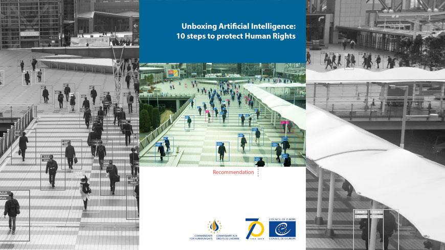 Copertina della Raccomandazione della Commissaria per i diritti umani del Consiglio d'Europa su intelligenza artificiale e diritti umani