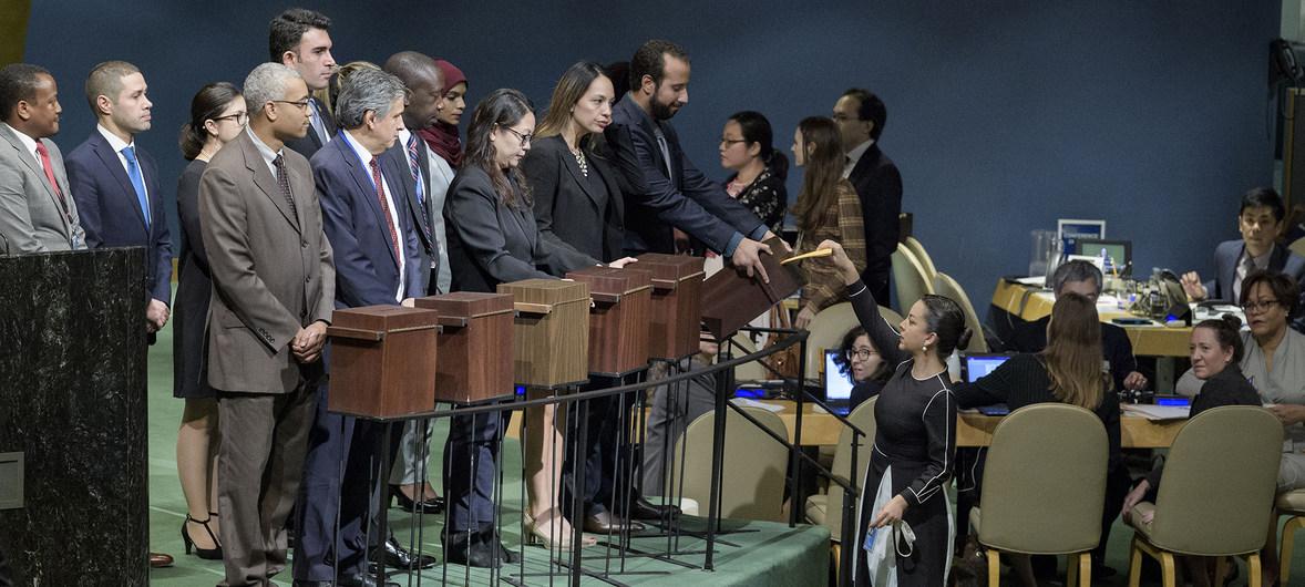 Assemblea generale delle Nazioni Unite, raccolta di schede elettorali per l'elezione dei membri componenti il Consiglio diritti umani, 12 ottobre 2018