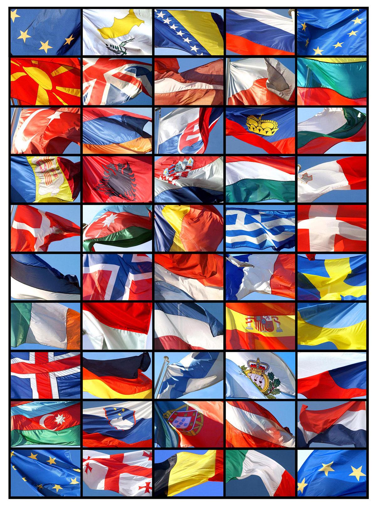 Consiglio d'Europa, bandiere dei 47 Stati membri