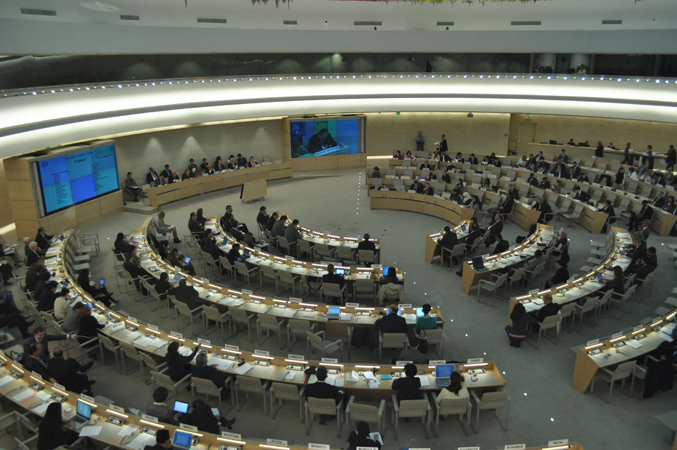 Wide view of Hall XX, where the Human Rights Council gathers, Palace of Nations, Geneva, Switzerland, 2010.