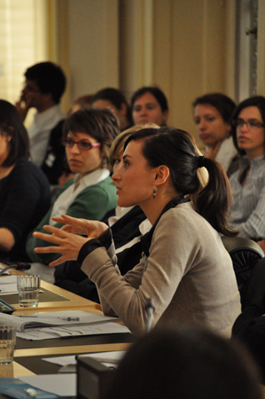 Profile of a student while speaking in a meeting at Wilson Palace, Geneva, Switzerland.