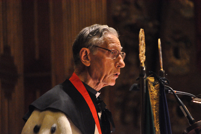 Monsignor Luigi Mazzucato during his lectio magistralis after been proclaimed doctor in Institutions and Policies of Human Rights and Peace, Aula Magna, Palazzo del Bo, University of Padua, 11 November 2010