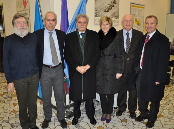 Da sinistra: Alessandro Pascolini, Marco Mascia, Cesare Maria Ragaglini, Silvia Fattore, Antonio Papisca, Stefano Beltrame