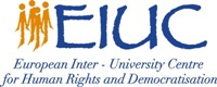 "Logo of the EIUC, with orange figures on the left and ""EIUC"" written in blue on the left."