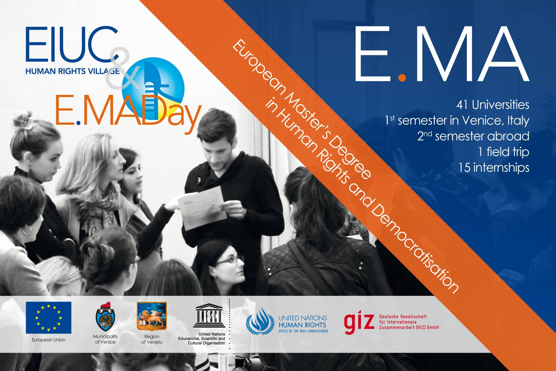 Poster of the European Master in Human Rights and Democratisation (E.MA)
