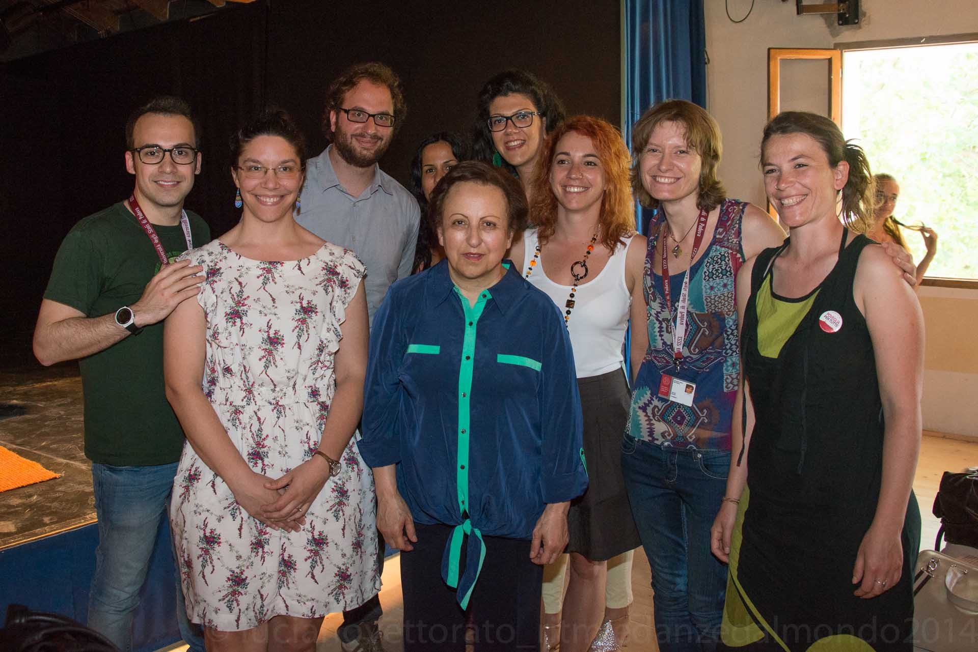 Group shot of students, graduates and volunteers in Civil Service of the University of Padua with Shirin Ebadi.