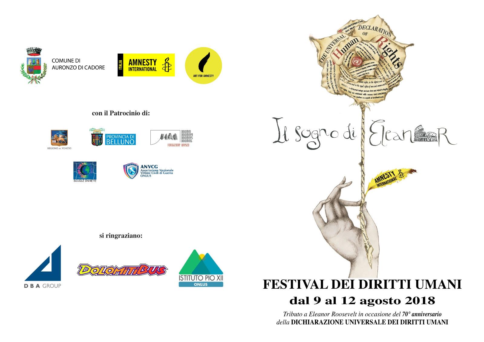 Festival dei Diritti Umani, 9 - 12 agosto 2018, Auronzo di Cadore, locandina
