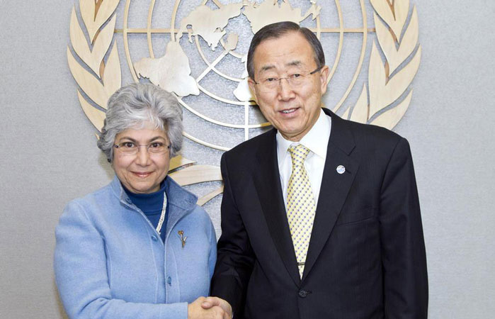 Flavia Pansieri, United Nations' Deputy High Commissioner for Human Rights, with the UN Secretary General, Ban Ki-moon