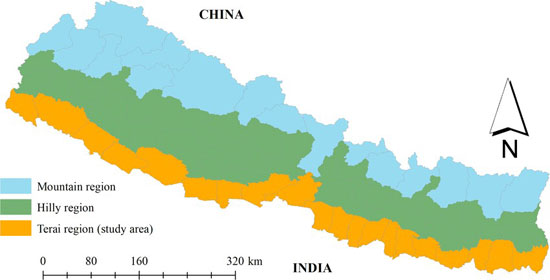 Geographic map of Nepal