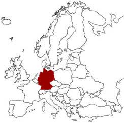 La Germania evidenziata nella mappa dell'Europa