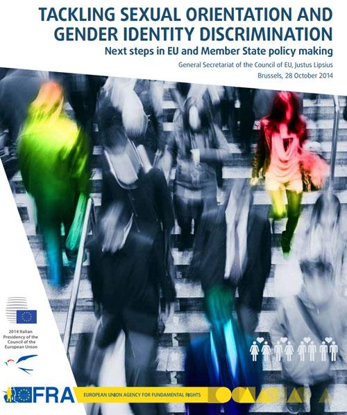 """Locandina della Conferenza di Alto-livello """"Combattere la discriminazione basata sull'orientamento sessuale e l'identità di genere"""", 28 ottobre 2014"""